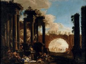 Мифологические фигуры среди руин