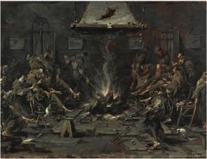 Монахи греются возле огня 63 x 95 cm