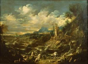 Пейзаж с мооем в шторм